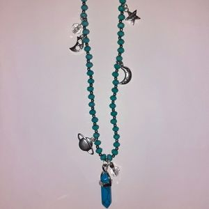 Blue Howlite Beaded Space Charm Necklace